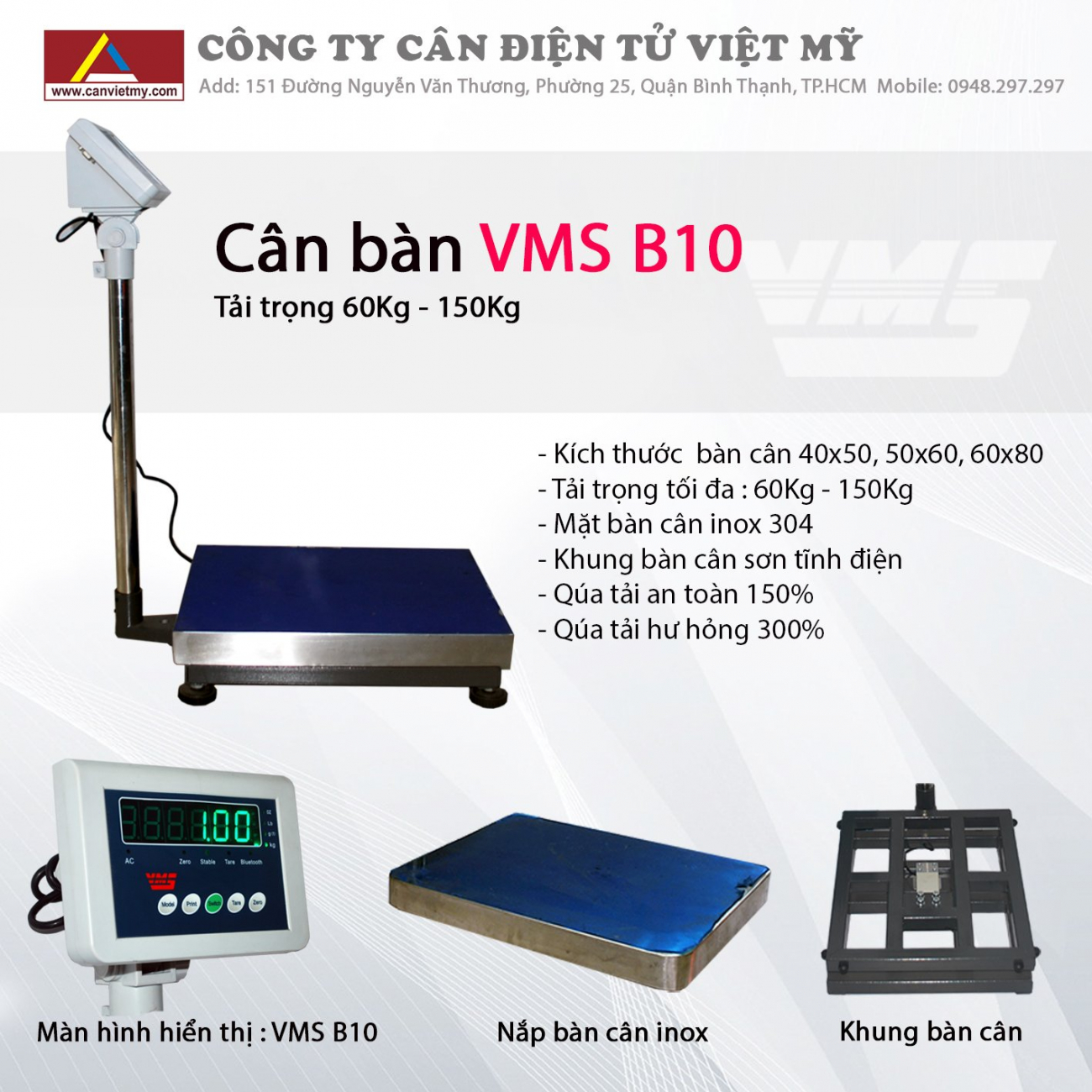 CÂN BÀN ĐIỆN TỬ VMS-B10